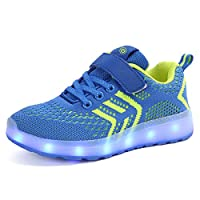Axcer LED Light Up Trainers 7 Colors Flashing USB Charge Mesh Breathable Sport Running Shoes Gymnastic Tennis Sneakers Best Gift for Boys and Girls Birthday