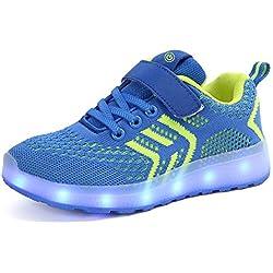 Axcer LED Zapatos Verano Ligero Transpirable Bajo 7 Colores USB Carga Luminosas Flash Deporte de Zapatillas con Luces Los Mejores Regalos para Niños Niñas Cumpleaños de Navidad (28 EU, Diamante Azul)