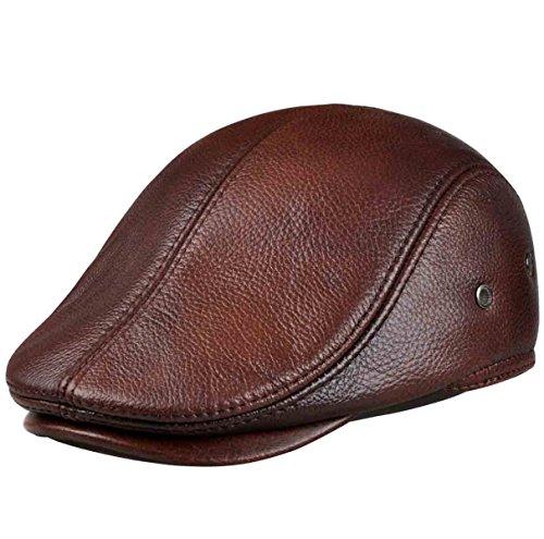 y Hut Herren Leder Mütze Ivy Flat Cap,1-XXL (Herren Sommer Newsboy Hüte Xxl)