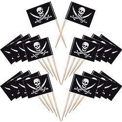 Palillos con bandera pirata, 300 ud.