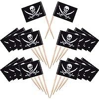100 Piezas de Palillos de Dientes de Cóctel de Pirata Topper de Pastel de Bandera para