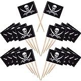 100 Pièces Cocktail de Pirate Drapeaux de Cure-Dents Gâteaux Toppers pour la Nourriture, Apéritif, Cocktail, Décoration de Petit Gâteau pour Enfants Décorations de Fête d'Anniversaire de Halloween
