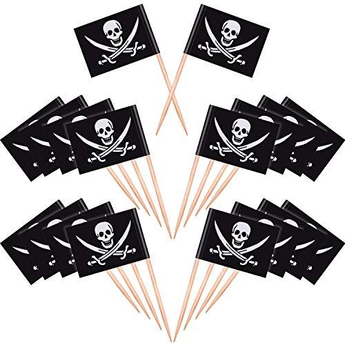 Blulu 100 Stück Piraten Cocktail Zahnstocher Flaggen Kuchen Topper für Lebensmittel, Vorspeise, Cocktail, Cupcake Dekoration für Kinder Weihnachten Geburtstag Party Dekorationen (Halloween Vorspeisen Kinder Für)