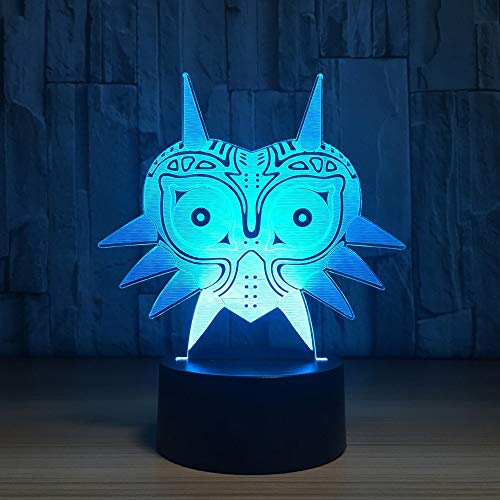 LED Wohnkultur Kreative Cartoon Spieltischlampe Neuheit 7 Farbwechsel 3D Maske Modellierung Leuchte Kinder Geschenke Nachtlicht (Cartoon Die Maske Wolf)