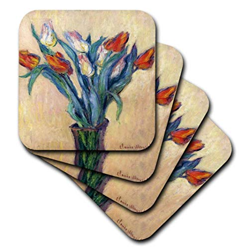 3dRose Print von Monet Malerei Vase of Tulips-Keramik Fliesen Untersetzer, Set von 4(CST 204112_ 3)