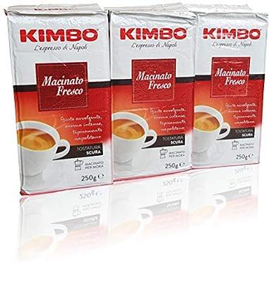 Kimbo Macinato Fresco Italian Napoli Espresso Ground Coffee 250g x 3 (750g Total) by Kimbo
