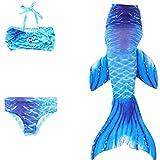 Das Beste Mädchen Meerjungfrauen Bikini Kostüm Meerjungfrau Schwimmanzug Badeanzüge Tankini, Farbe: Dunkelblau, Gr. 150