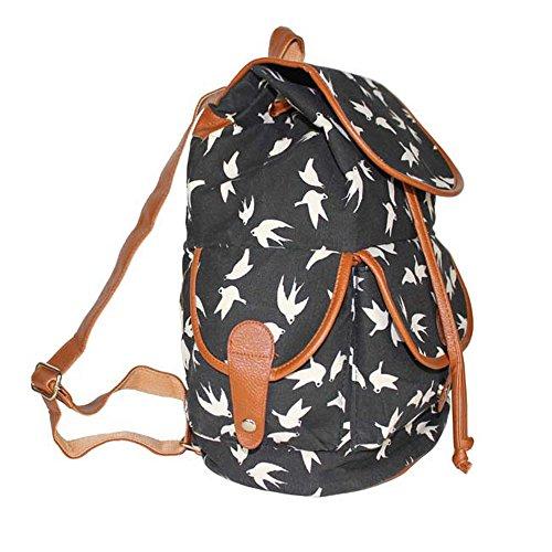 metou Canvas Rucksack Casual Book Bag Sport Tagesrucksack leicht Laptop Tasche Schultasche für Frauen Mädchen Lagerung Paket Schwarz