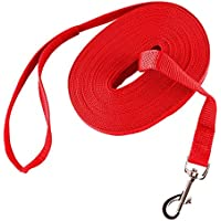 Perro de algodón de tela web de largo entrenamiento correa de mascotas de plomo durable con hebilla de aleación de cinc (Rosso, 49.2)