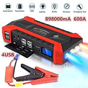 89800mAh Car Battery Jump Starter Pack – Cargadores portátiles de herramientas eléctricas para exteriores Cargador automático de batería para 12V Motocicletas/Barco/RV con abrazaderas, linterna LED