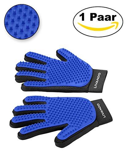 Livando Premium Fellpflegehandschuhe mit 259 Pins – Grooming Glove mit Massagefunktion – Einfache Entfernung loser Tierhaare – Ideal für Hunde und Katzen mit langem oder kurzem Fell (Katze Deshedding)