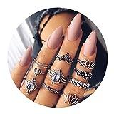 AMDXD 10 Pezzi Donna Midi Ring Fiore di Loto dell'Elefante di Zirconia Cubica Vintage Argento Boemia Anelli Set