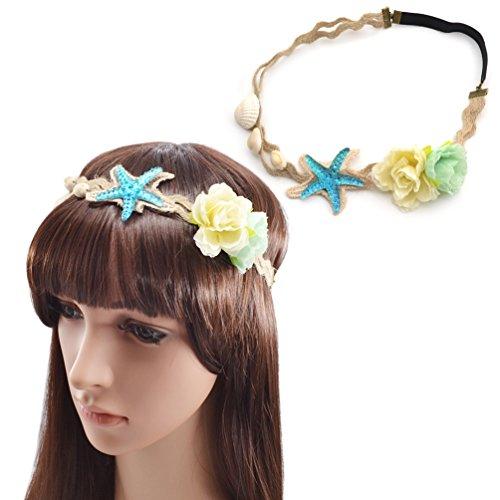 (YNuth Damen Haarband Kopfband Haarreif Seestern Muschel Blumen Haarschmuck Elastisch)