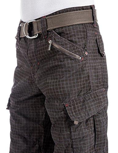 Timezone Herren Shorts MilesTZ Ladung 3/4 Hose mit Gürtel Grau (anthra grey 8970)