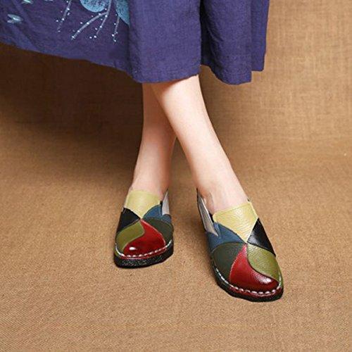 Socofy Femmes Mocassins, Mocassins En Cuir Femmes Mocassins Confortable Glissement Sur Chaussures Décontractées Confort Chaussures Escarpins Espadrillas Chaussures Conduite Chaussures Chaussures De Marche Vert