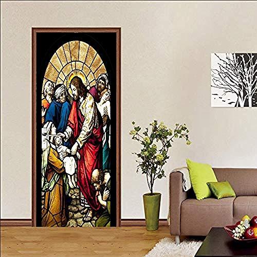 Türaufkleber Für Innentüren, Dekoration Wandkunst Wandtattoos, Jesus Und Kinder Multicolor, Vinyl, Abnehmbare Selbstklebende Aufkleber Türaufkleber-A1 (Kinder Wandtattoos Jesus)