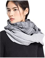Prettystern - Loop Schal Damen grau meliert & silber 100% Wolle Winter Schlauchschal