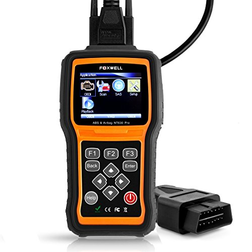 FOXWELL Nt630 Pro Car Diagnostic Engine/Abs/Airbag Scan Tool with Steering Angle Sensor Calibration Function, Can OBD II Fault Code Reader with 5ft Obd2 Tester Cable