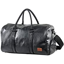 a621b03702bdef Mioy Großräumige Vintage Leder Herren Handgepäck Sporttasche Overnight  Duffel Bag Damen Reisetasche für Wochenend Urlaub