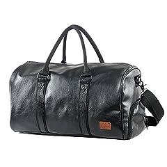 Idea Regalo - Mioy Vintage Borsone da Viaggio di pelle sintetica Uomo Borsa Palestra Sportiva 40L Per Viaggio Vacanza Palestra Sport (Nero)