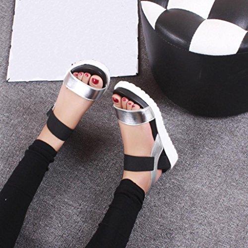 Hunpta Fashion Sandalen Frauen im Alter von Leder flache Sandalen Damenschuhe Silber