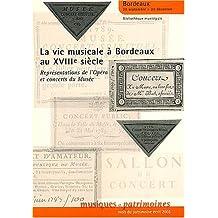 La vie musicale à Bordeaux au XVIIIe siècle : Représentations de l'Opéra et concerts du Musée