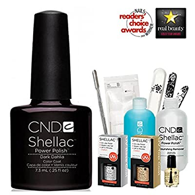 "CND Shellac Starter Kit 2013 - DARK DAHLIA "" 1 Colour Starter Kit - Top & Base Coat + Essentials"