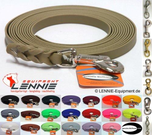 BioThane® Schleppleine 13 mm in 25 Farben [Beige (Khaki)] / 1-30 Meter [1m] / geflochten / mit Handschlaufe