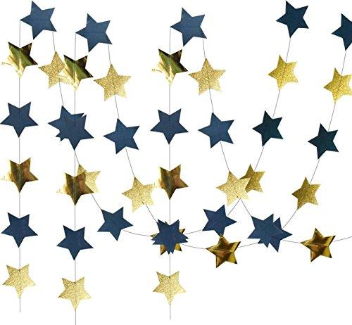 HappyField Outer Space Dekorationen Geburtstag Party Dekorationen 2 Stück Navy Blue Glitter Gold Papier Stern Garlands Star String für Baby-Dusche-Dekorationen (Space Dekor Outer)