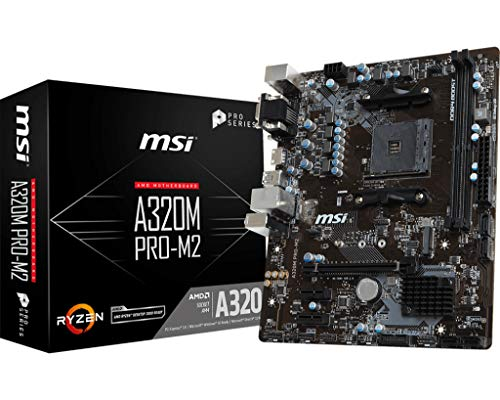 MSI A320M Pro-M2 - Plaque de base professionnelle (Jeu de puces AMD A320, 4X DDR4-SDRAM, 3200OC + MHz, 32 GB, Amplification audio, Turbo M.2) couleur Noir