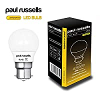 3 Pack 7W GOLF BALL LED Light Bulbs B22 BC Bayonet Paul Russells Bright 7W=60W G45 Small Globe / Round 270 Beam Lamp 2700K Warm White 60W Incandescent Replacement from paul russells