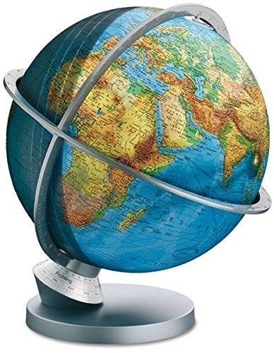 Columbus Globus L 423052/9. College Line. Duplex-Leuchtglobus. Planet Erde. Silbermatter Kunststoffuß