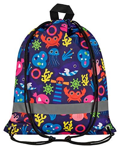 Aminata Kids - Kinder-Turnbeutel für Junge-n und Mädchen mit Unterwasser-Welt süße Wal-e Fisch-e Sport-Tasche-n Gym-Bag Sport-Beutel-Tasche bunt blau...