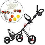 CADDYTEK 3 Ruedas Carrito de golf Superlite Deluxe con Practica de Golf Balls and 100 Piezas tees-negro