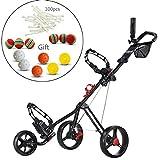 Best Golf Push Carts - CaddyTek SuperLite Deluxe Golf trolleys Push Cart-Black Review