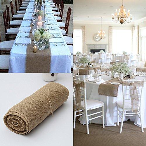 GHKLGY 30 cm x 10 M Toile de jute naturel toile de jute blanc dentelle chemin de table Vintage nappes événements festifs décor