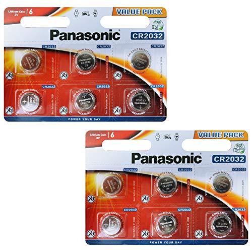 Panasonic CR2032 Lithium Knopfzellen Batterie 12-er Pack im Blister (Panasonic Cr2025)
