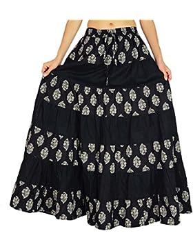 Amoghah Boho del algodón del estilo de la impresión floral de la falda larga flaired elástico de la cintura Bottoms