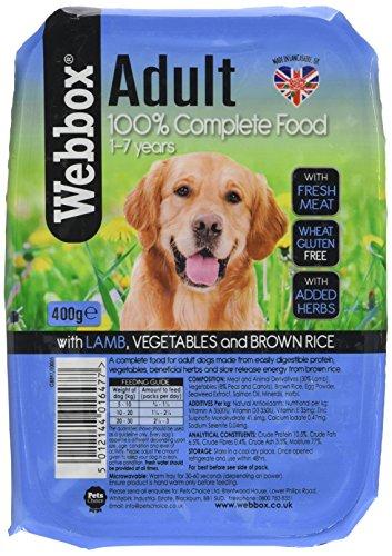 Webbox Hundefutter natürlich Katzentoilette Lamm Gemüse und braun Rice 400 g, Packung mit 7