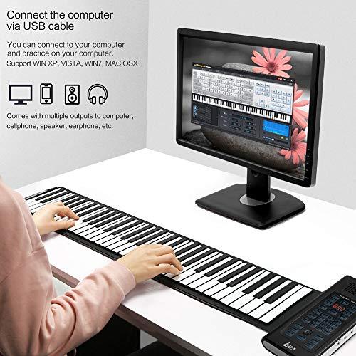 Lujex 88 touches Piano Claviers Electronique Flexible Portable Batterie Rechargeable et Haut-parleur Intégré Piano Roll Up Pliable