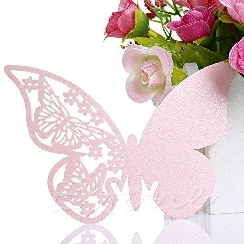 Xuniu 50 Stück Schmetterling Form Tischkarte Hochzeit Geburtstag Party Wein Glas Tisch Dekor Rosa