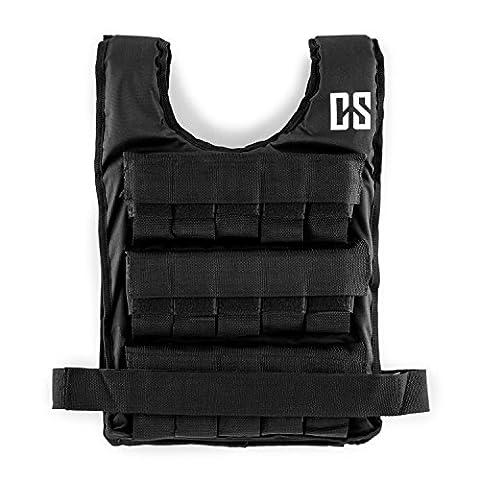 Capital Sports Monstervest Gilet lesté de 30 kg (30 poids en métal amovibles, rembourrage doux, ceinture en nylon ajustable, très résistant) - noir