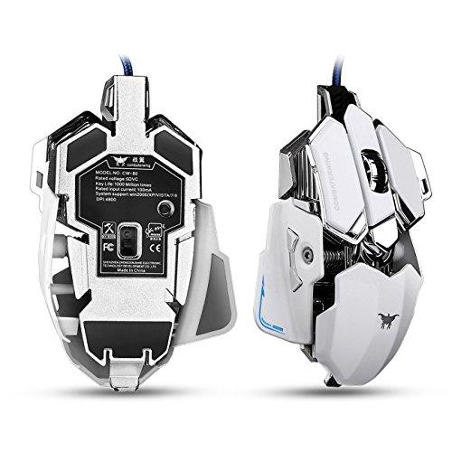 C80 Gioco d'azzardo Mouse con 4800 DPI, Programmabile 10 bottoni, USB collegata Gioco d'azzardo Topi per Pro Gamer (bianco)