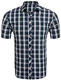COOFANDY Karohemd Herren Kurzarm Freizeithemd kariert aus Baumwolle Kentkragen slim fit casual Shirts(Grün,XL)