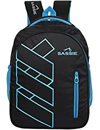Sassie Polyester 41 L Black Blue School and Laptop Bag with 3 Large Compartments