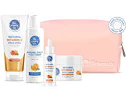 The Moms Co. Natural Brightening Vitamin C Complete Face Care Routine Kit l Face Wash I Toner I Serum I Cream l Free Vanity B