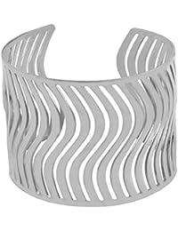 Waves Cuff Party Statement Mesh Imported Glossy Silver Free Size Cuff Kada Bangle Bracelet Girls Women