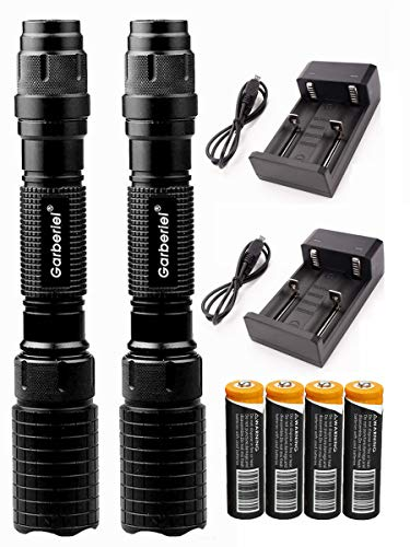 Garberiel 2 juegos linterna LED negra 5 modos ajuste