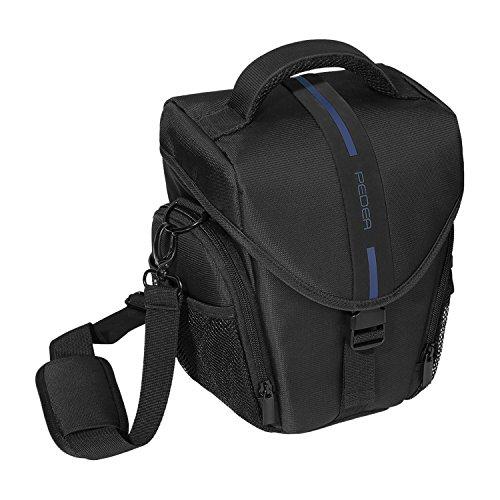 """PEDEA \""""Essex\"""" SLR-Kameratasche mit Regenschutz, Tragegurt und Zubehörfächer Gr. L, schwarz/blau"""