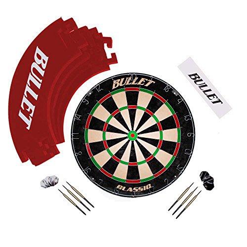 Bullet Großes Dart Turnier Set, Dartboard aus Brasilianischen Sisal, 6 Steeldarts, Surround Ring und Wurflinie - in Rot